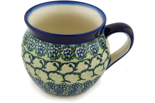 Polish Pottery Bubble Mug 12 oz Emerald Forest Theme