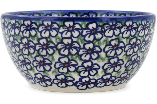 "Polish Pottery Bowl 5"" Flower Bouquet Theme"