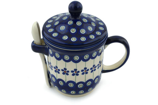 Polish Pottery Brewing Mug with Spoon 12 oz Flowering Peacock Theme