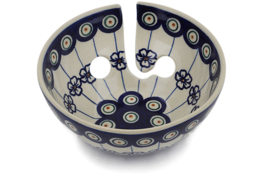 "Polish Pottery Yarn Bowl 6"" Flowering Peacock Theme"