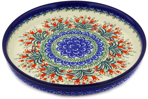 "Polish Pottery Cookie Platter 10"" Crimson Bells Theme"