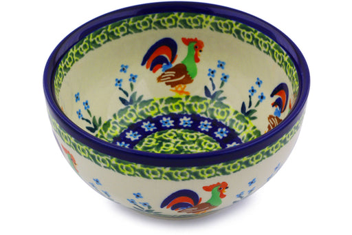 "Polish Pottery Bowl 5"" Country Rooster Theme UNIKAT"