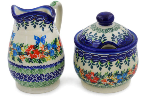 Polish Pottery sugar and creamer set Ring Of Flowers Theme UNIKAT