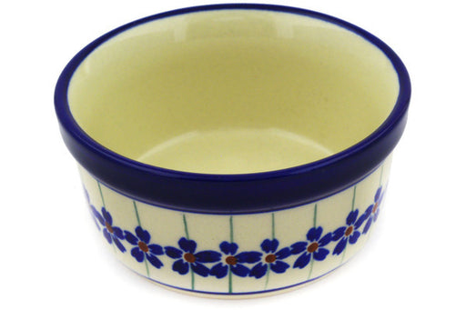"Polish Pottery Bowl 4"" Flowering Peacock Theme"