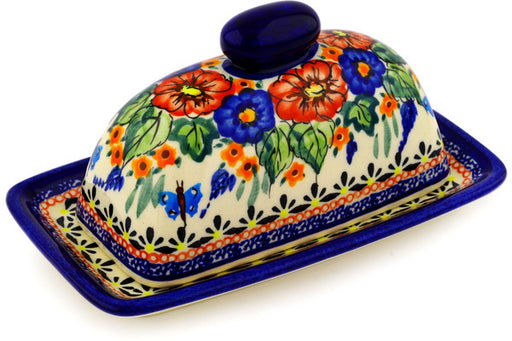 "Polish Pottery Butter Dish 7"" Spring Splendor Theme UNIKAT"