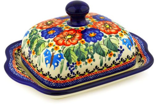 "Polish Pottery Butter Dish 8"" Spring Splendor Theme UNIKAT"