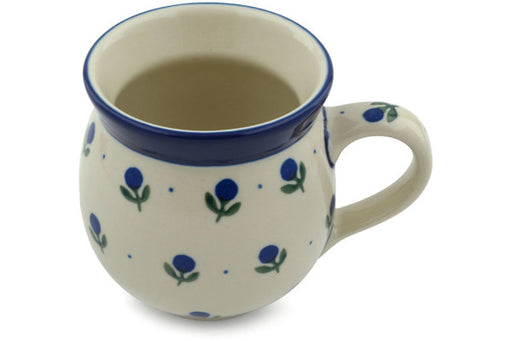 Polish Pottery Bubble Mug 12 oz Blue Buds Theme