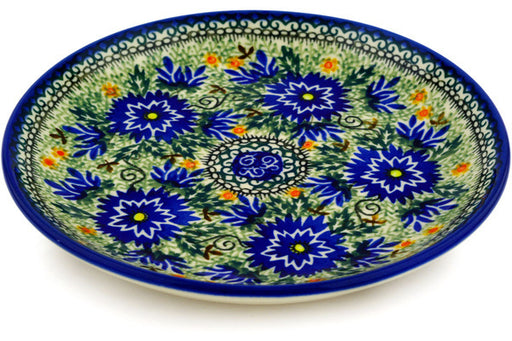 "Polish Pottery Plate 8"" Intrepid Dahlia Theme UNIKAT"