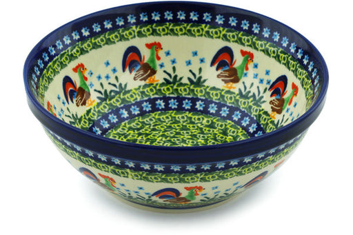 "Polish Pottery Bowl 8"" Country Rooster Theme UNIKAT"