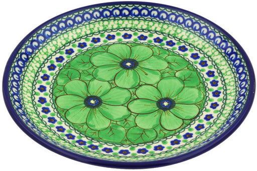 "Polish Pottery Plate 8"" Green Pansies Theme UNIKAT"