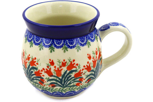 Polish Pottery Bubble Mug 16 oz Crimson Bells Theme