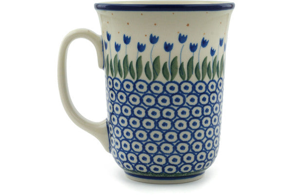 Polish Pottery Mug 17 oz Water Tulip Theme