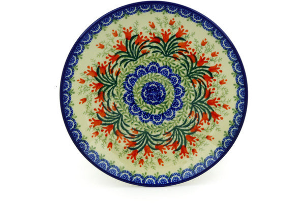 "Polish Pottery Plate 8"" Crimson Bells Theme"