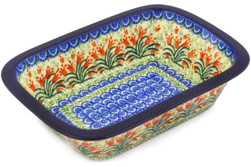 "Polish Pottery Rectangular Baker 10"" Crimson Bells Theme"