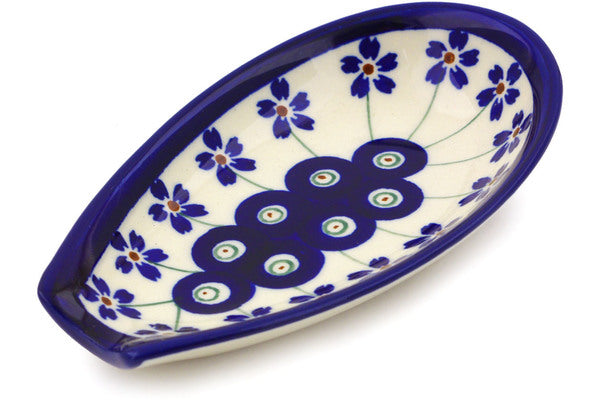 "Polish Pottery Spoon Rest 5"" Flowering Peacock Theme"