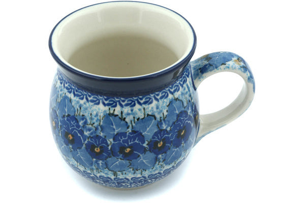 Polish Pottery Bubble Mug 16 oz Deep Winter Theme UNIKAT