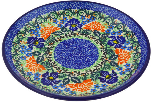 "Polish Pottery Plate 8"" Midnight Iris Theme UNIKAT"