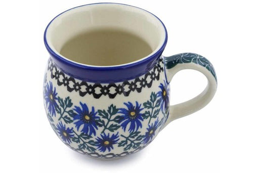 Polish Pottery Bubble Mug 12 oz Blue Chicory Theme