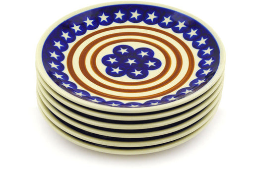 Polish Pottery plates set of 6 Stars And Stripes Forever Theme