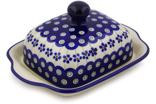 "Polish Pottery Butter Dish 8"" Flowering Peacock Theme"
