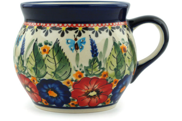 Polish Pottery Bubble Mug 16 oz Spring Splendor Theme UNIKAT
