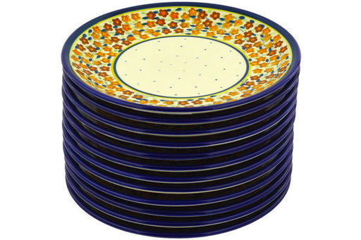 Polish Pottery plates set of 12 Russett Floral Theme
