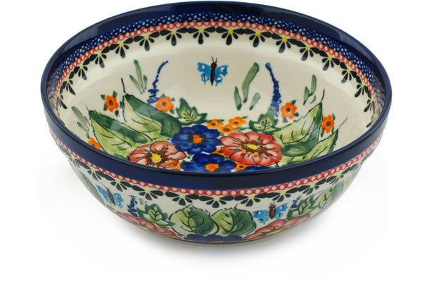 "Polish Pottery Bowl 7"" Spring Splendor Theme UNIKAT"