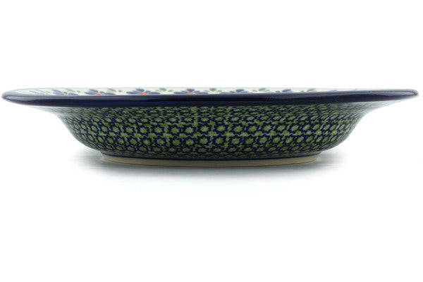 "Polish Pottery Pasta Bowl 9"" Gingham Flowers Theme"