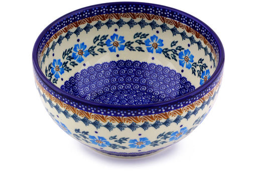 "Polish Pottery Bowl 7"" Blue Cornflower Theme"