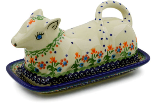 "Polish Pottery Butter Dish 8"" Spring Flowers Theme"