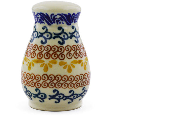 "Polish Pottery Pepper Shaker 3"" Autumn Swirls Theme"