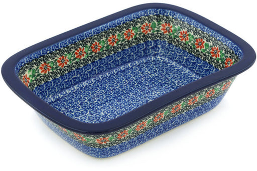 "Polish Pottery Rectangular Baker 10"" Red Zinnia Theme"