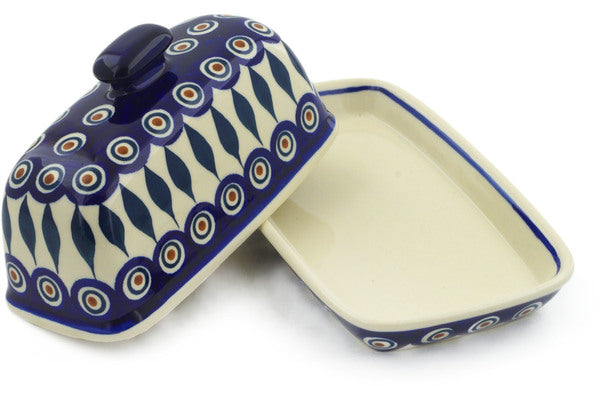 "Polish Pottery Butter Dish 8"" Peacock Theme"
