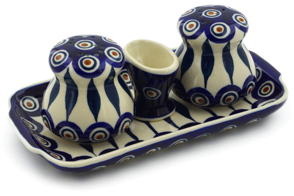 "Polish Pottery Salt and Pepper with Toothpick Holder 8"" Peacock Theme"