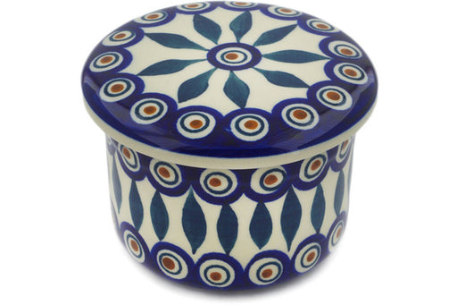 "Polish Pottery Butter Dish 5"" Peacock Theme"