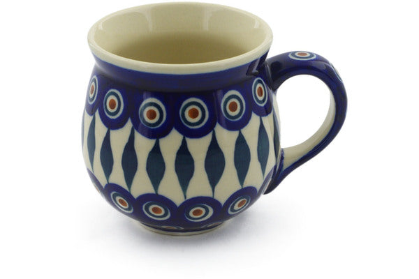 Polish Pottery Bubble Mug 10 oz Peacock Theme