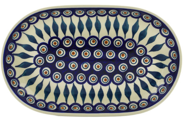 "Polish Pottery Platter 11"" Peacock Theme"