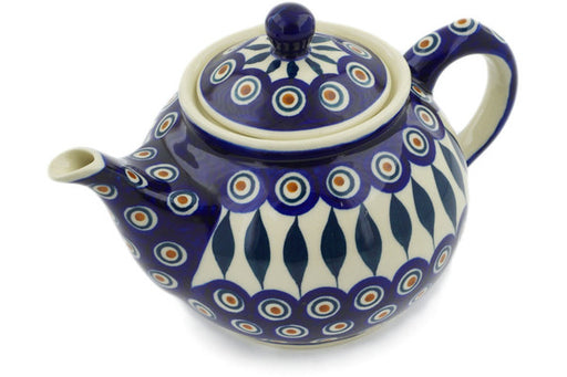 Polish Pottery Tea or Coffee Pot 30 oz Peacock Theme