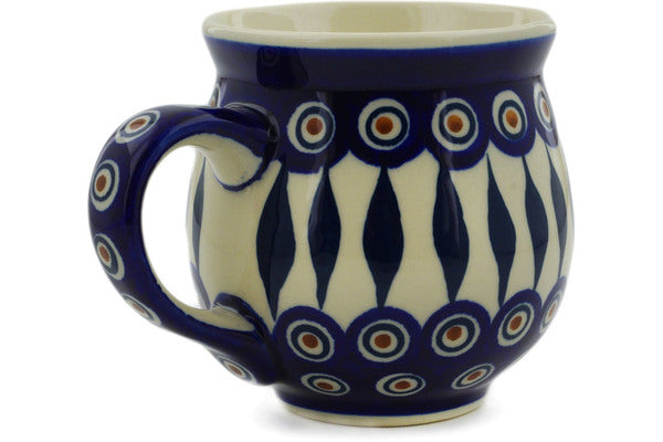 Polish Pottery Bubble Mug 19 oz Peacock Theme