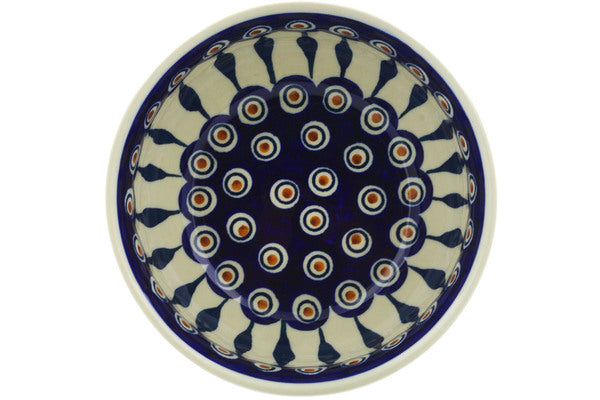 "Polish Pottery Bowl 7"" Peacock Theme"