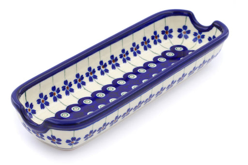 "Polish Pottery Corn Tray 9"" Flowering Peacock Theme"