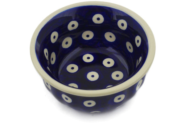 "Polish Pottery Bowl 3"" Peacock Eyes Theme"