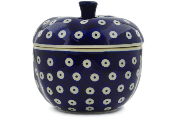 "Polish Pottery Apple Shaped Jar 5"" Peacock Eyes Theme"