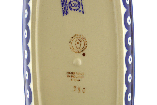 "Polish Pottery Butter Dish 8"" Peacock Eyes Theme"