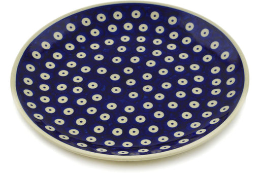 "Polish Pottery Plate 8"" Peacock Eyes Theme"