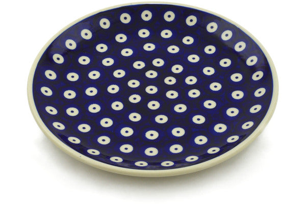 "Polish Pottery Plate 7"" Peacock Eyes Theme"
