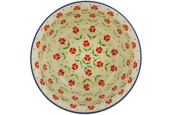 "Polish Pottery Fluted Bowl 8"" Red Primrose Theme"