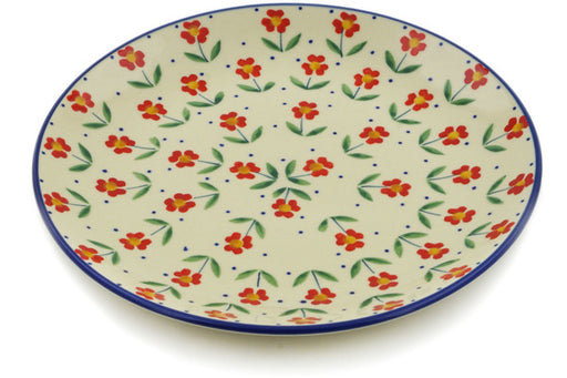 "Polish Pottery Plate 8"" Red Primrose Theme"