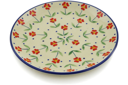 "Polish Pottery Plate 7"" Red Primrose Theme"