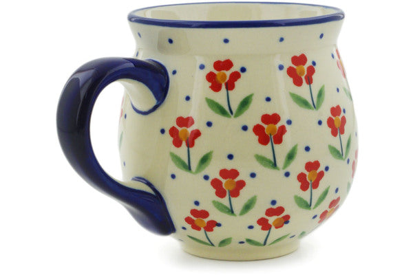 Polish Pottery Bubble Mug 10 oz Red Primrose Theme